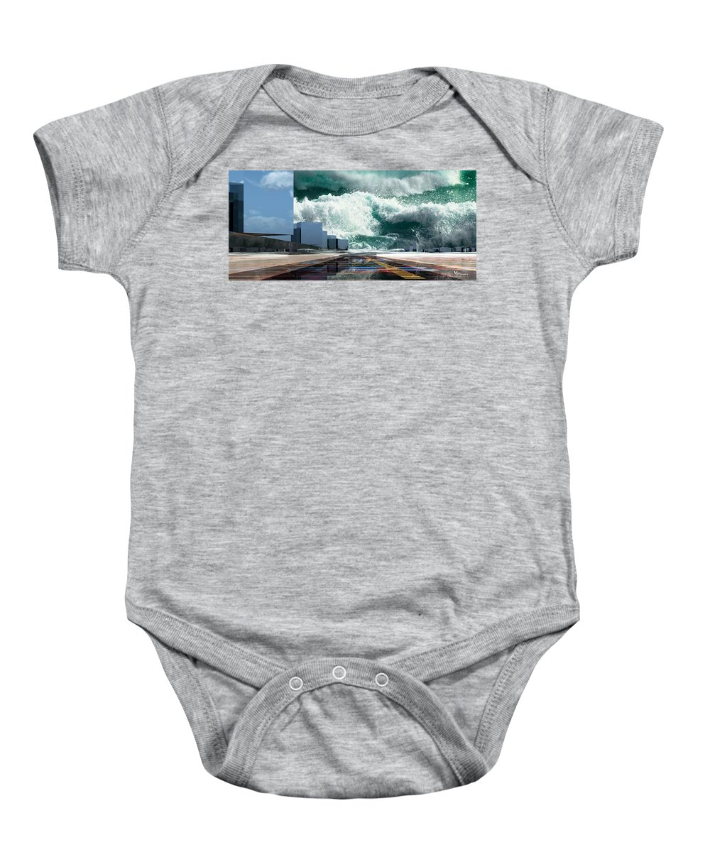 Abstractly Baby Onesie featuring the digital art Q-city Seven by Max Steinwald