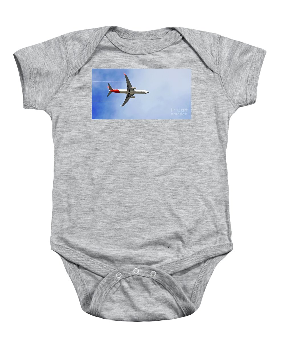 Photography Baby Onesie featuring the photograph Qantas In Flight by Kaye Menner
