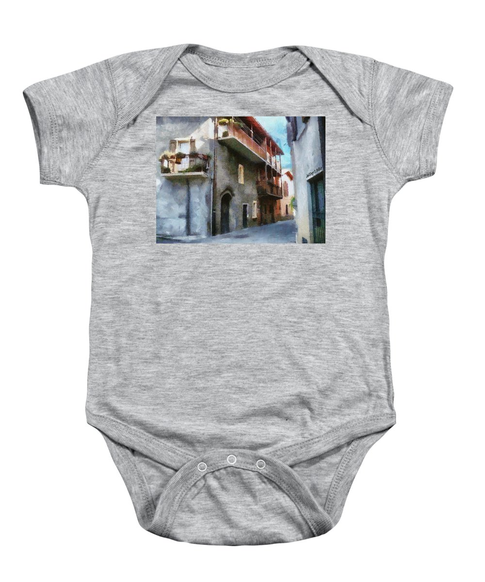 Almenno San Salvatore Baby Onesie featuring the painting Quiet In Almenno San Salvatore by Jeffrey Kolker