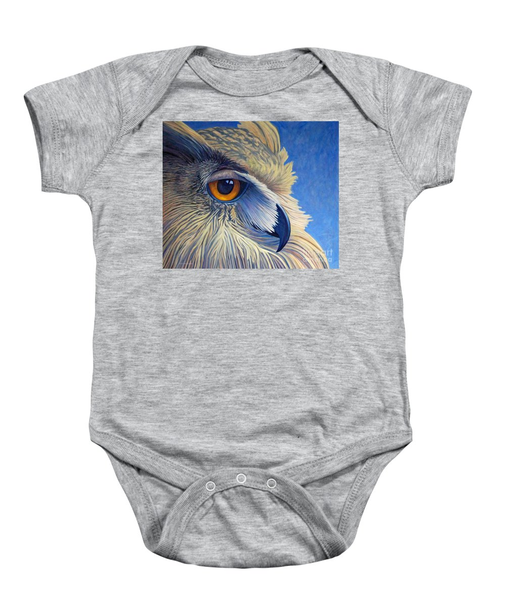 Owl Baby Onesie featuring the painting Quiet Joy by Brian Commerford
