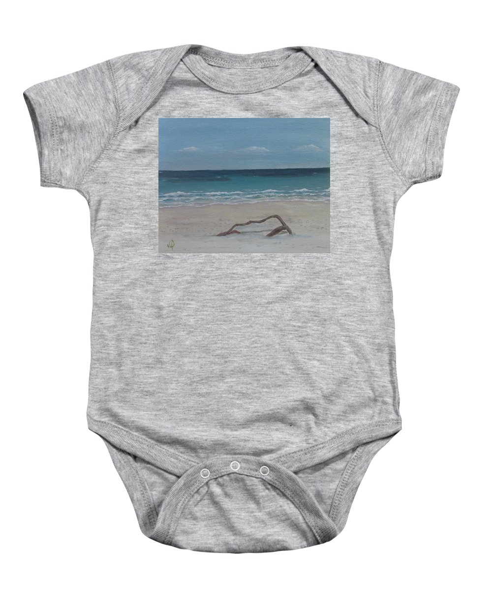 Seascape Baby Onesie featuring the painting #20 Quiet Perspective by Kimberley Gates