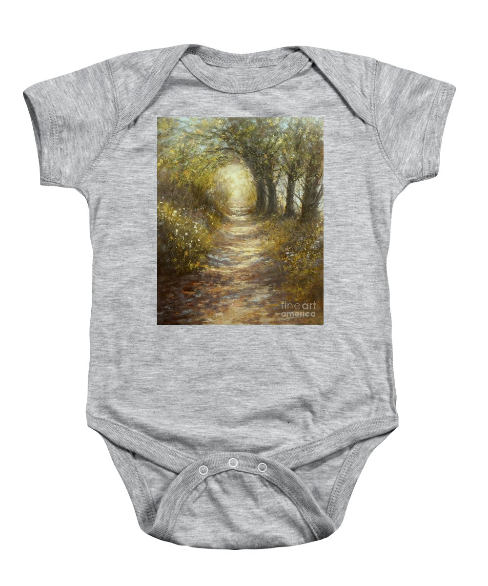Landscape Baby Onesie featuring the painting Quiet Walk by Valerie Travers
