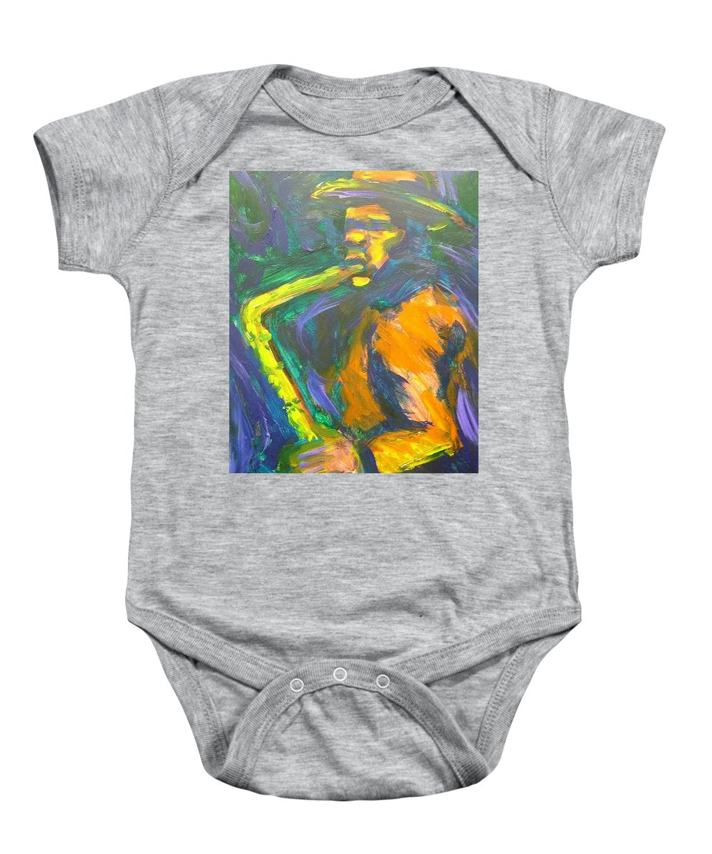 Painting Baby Onesie featuring the painting R-night Jam by Jan Gilmore