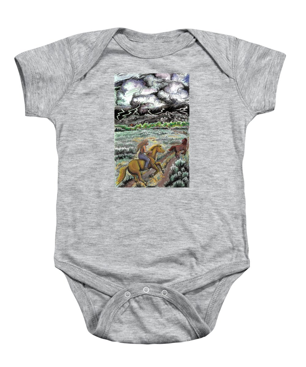 Animal Baby Onesie featuring the drawing Racing The Lightning Home by Dawn Senior-Trask