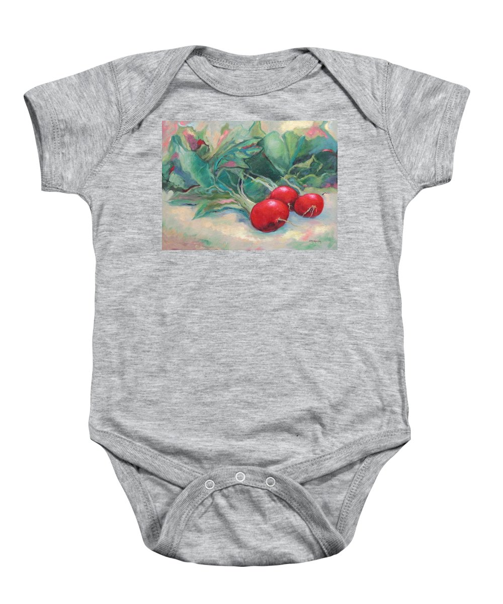 Radishes Baby Onesie featuring the painting Radishes by Ginger Concepcion