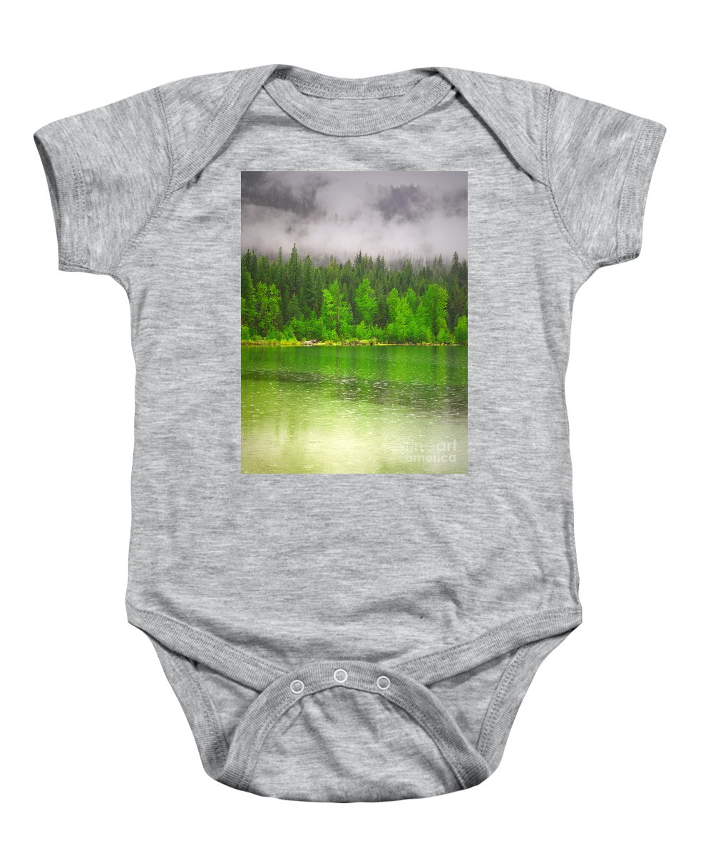 Lake Baby Onesie featuring the photograph Rain Clouds by Tara Turner