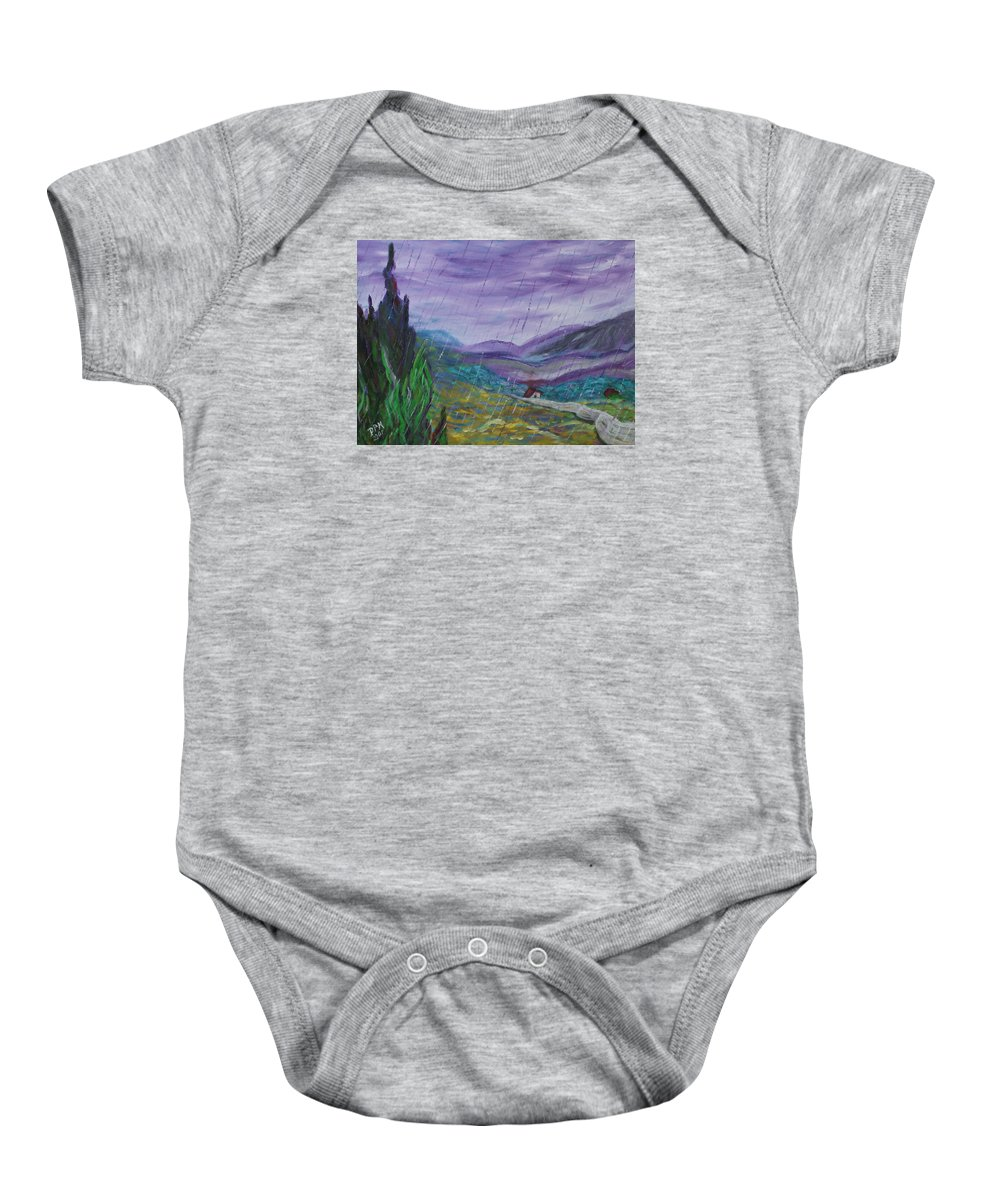 Rain Baby Onesie featuring the painting Rain by David McGhee