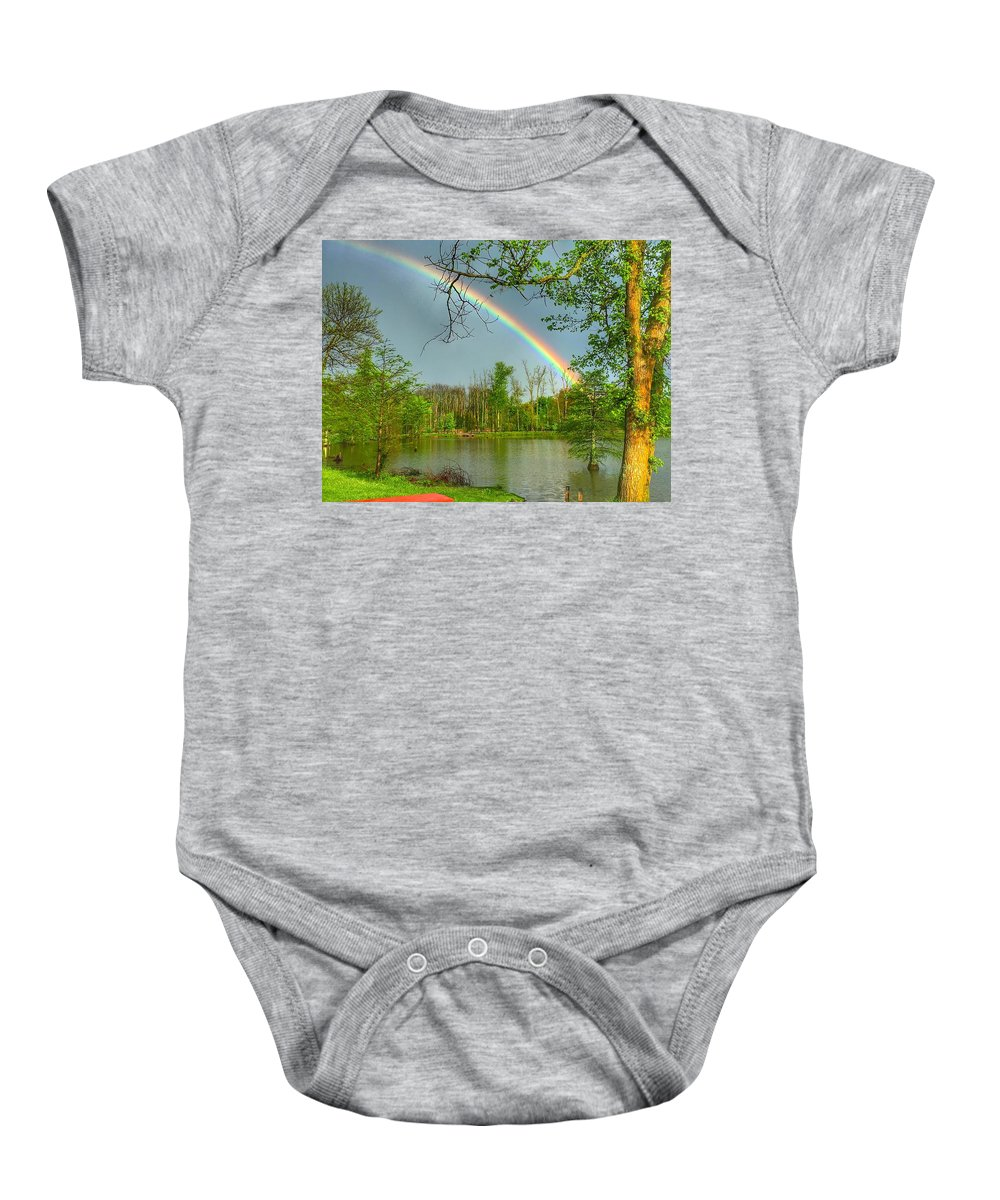 Rainbow Baby Onesie featuring the photograph Rainbow At The Lake by Sumoflam Photography