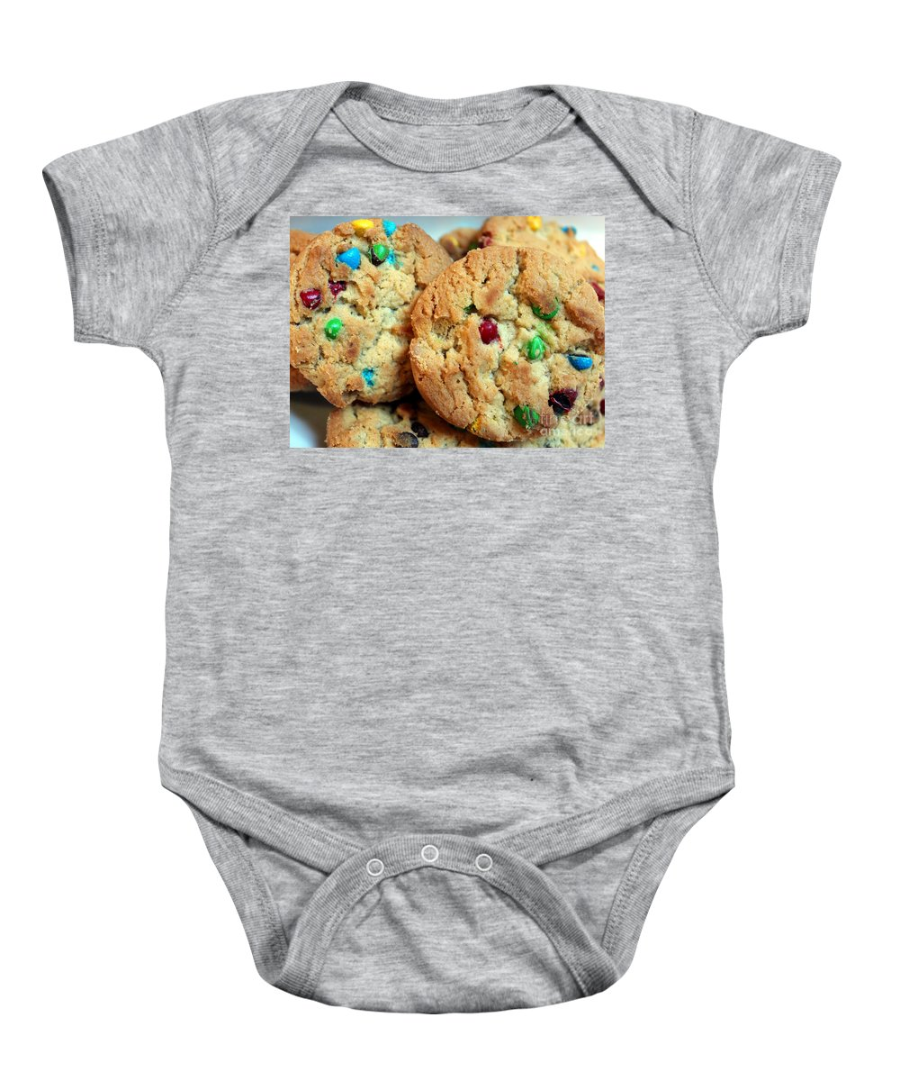 Rainbow Cookies Baby Onesie featuring the photograph Rainbow Cookies by Barbara Griffin