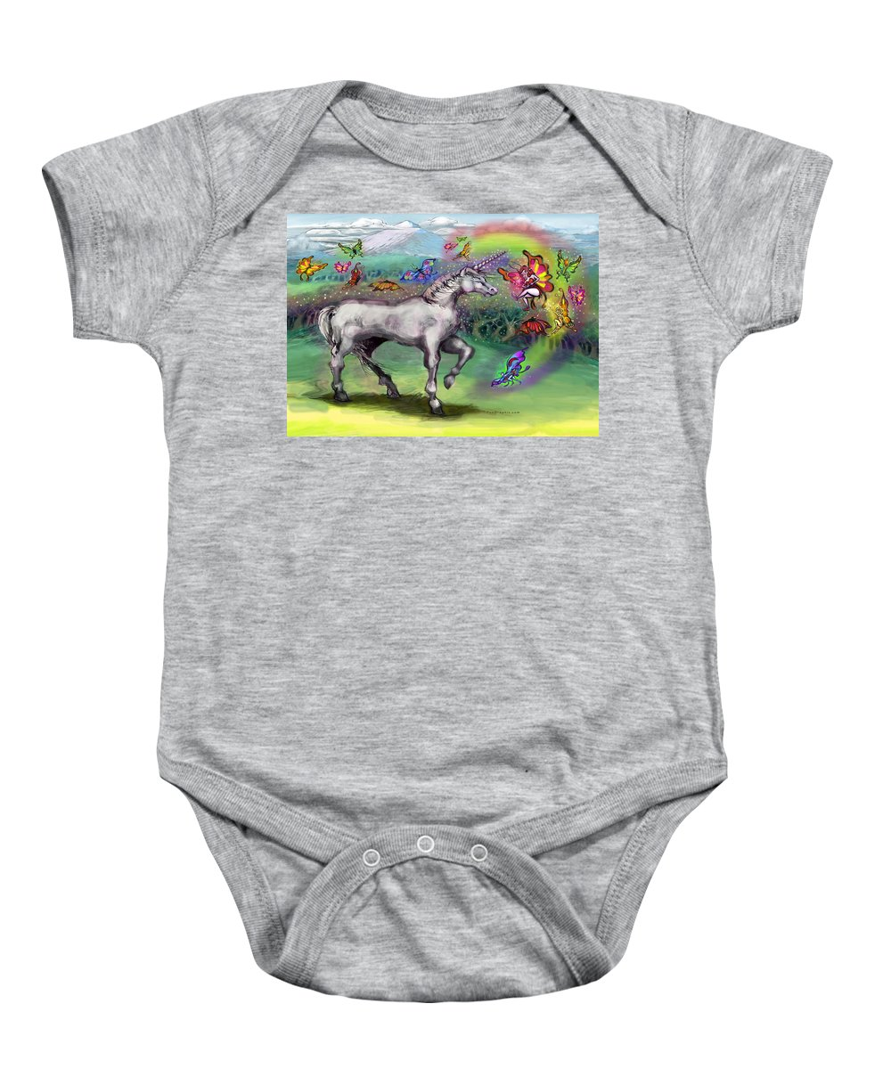 Rainbow Baby Onesie featuring the painting Rainbow Faeries And Unicorn by Kevin Middleton