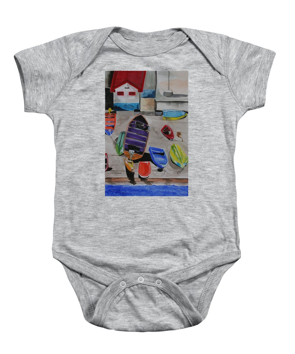 Boats Baby Onesie featuring the painting Rainbow On The Dock by Jean Blackmer