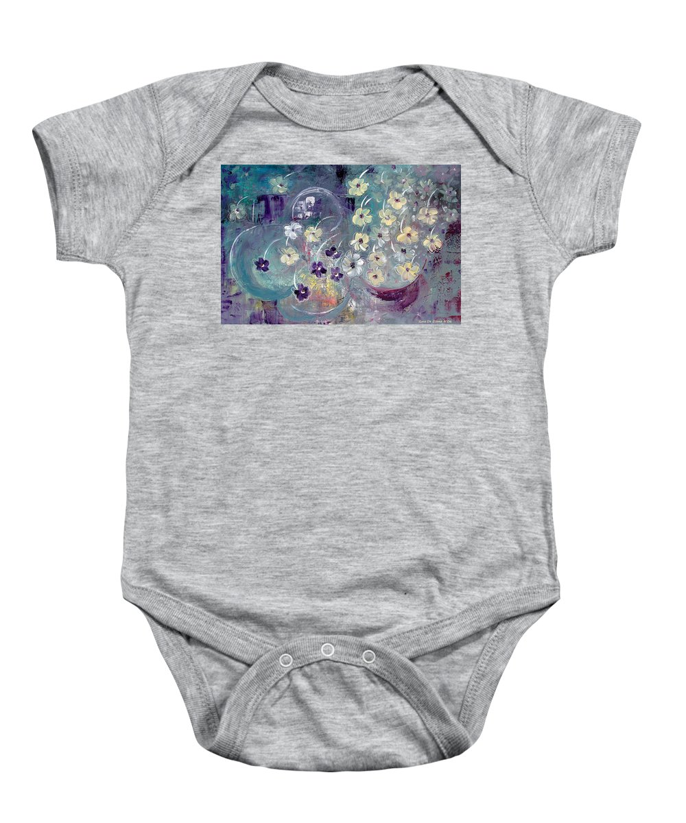 Flowers Baby Onesie featuring the painting Raining Flowers by Gina De Gorna