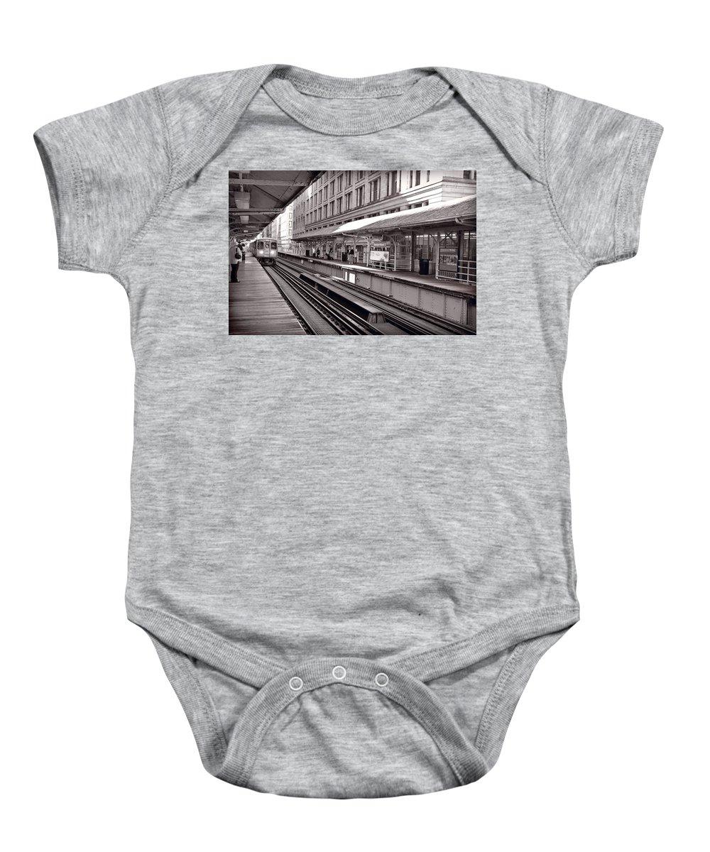 Cta Baby Onesie featuring the photograph Randolph Street Station Chicago by Steve Gadomski