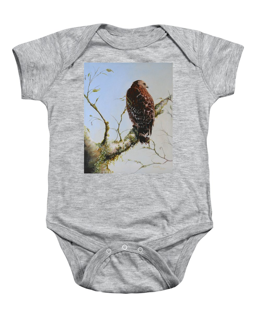 Bird Art Baby Onesie featuring the painting Raptor by Kimberly Wurster