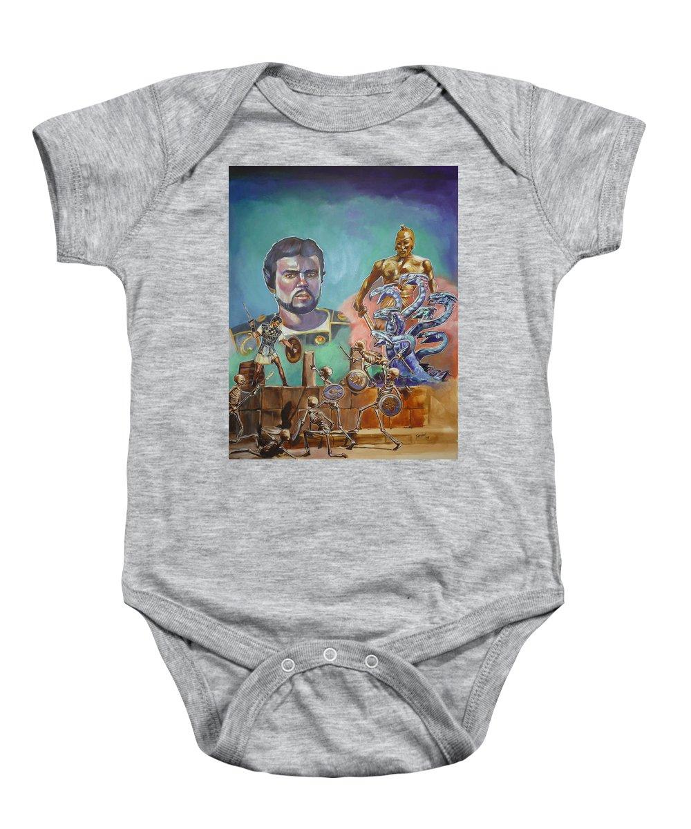 Jason Argonauts Hydra Talos Skeletons Movie Harryhausen Fantasy Sci-fi Baby Onesie featuring the painting Ray Harryhausen Tribute Jason And The Argonauts by Bryan Bustard