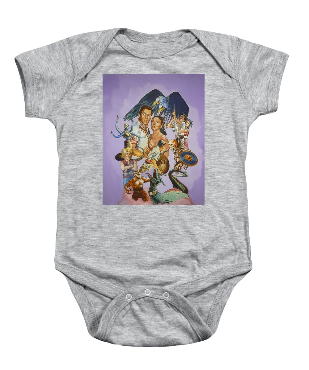 Movie Baby Onesie featuring the painting Ray Harryhausen Tribute Seventh Voyage Of Sinbad by Bryan Bustard