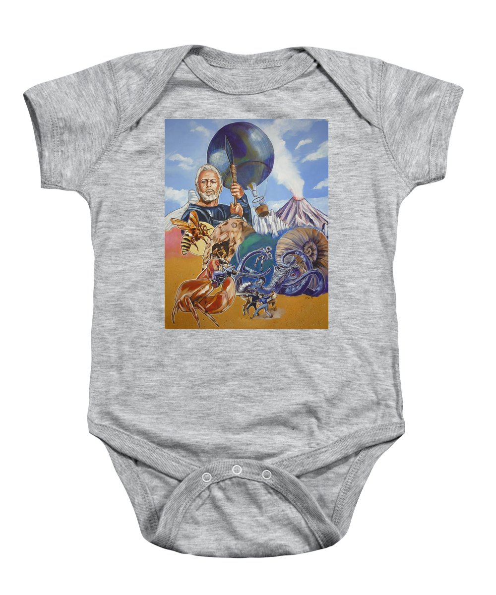 Mysterious Island Baby Onesie featuring the painting Ray Harryhausen Tribute The Mysterious Island by Bryan Bustard
