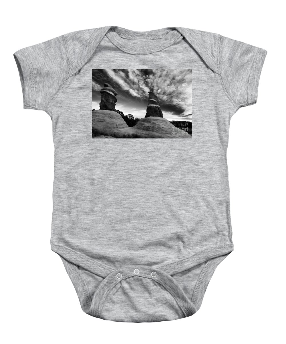 Devil's Garden Baby Onesie featuring the photograph Reaching for the Clouds by Mike Dawson