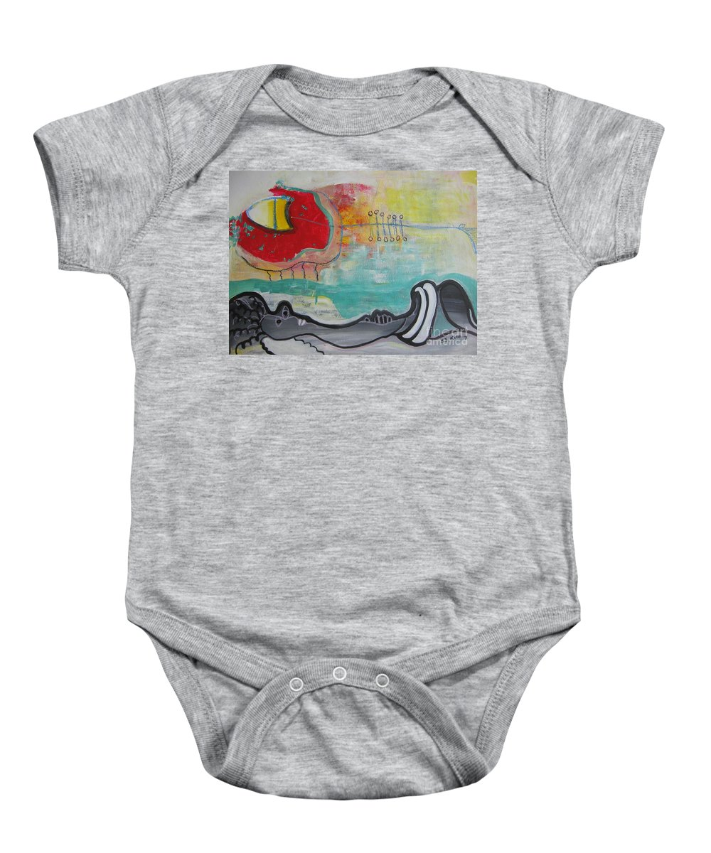 Red Paintings Baby Onesie featuring the painting Read My Mind1 by Seon-Jeong Kim