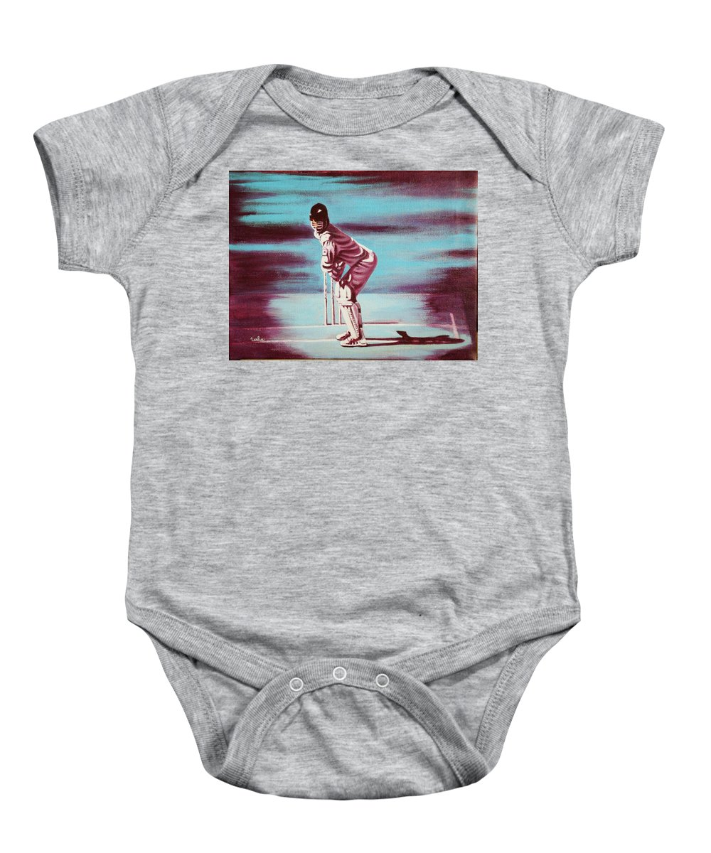 Baby Onesie featuring the painting Ready To Bat by Usha Shantharam