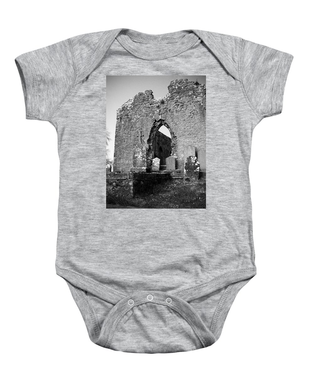 Ireland Baby Onesie featuring the photograph Rear Entrance Fuerty Church Roscommon Ireland by Teresa Mucha