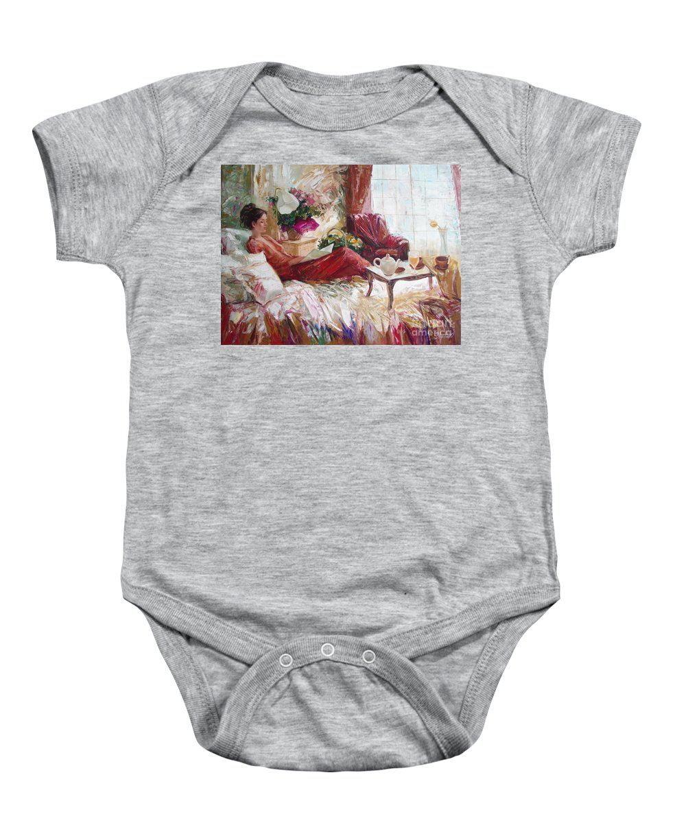 Art Baby Onesie featuring the painting Recent News by Sergey Ignatenko