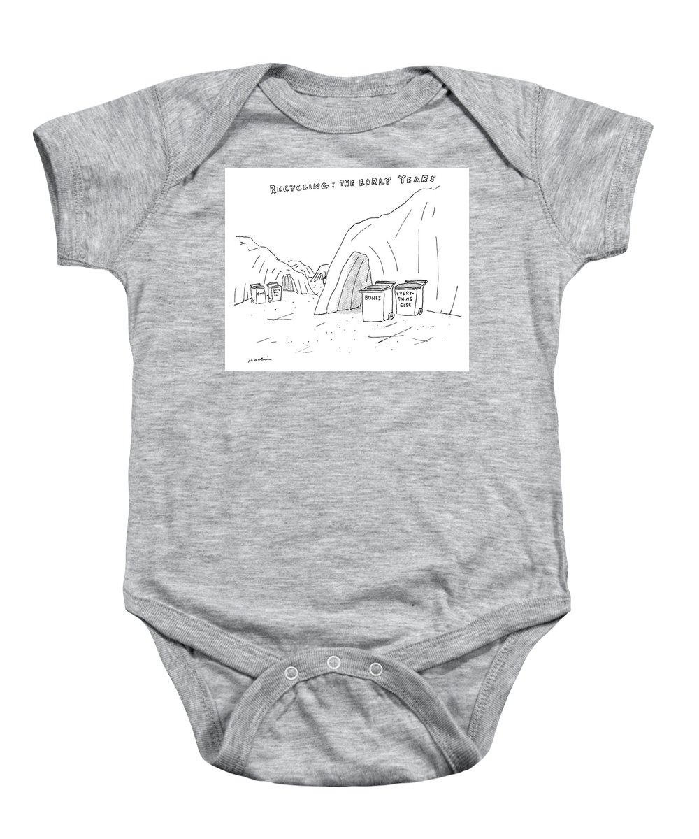 Recycling: The Early Years Baby Onesie featuring the drawing Recycling The Early Years by Michael Maslin