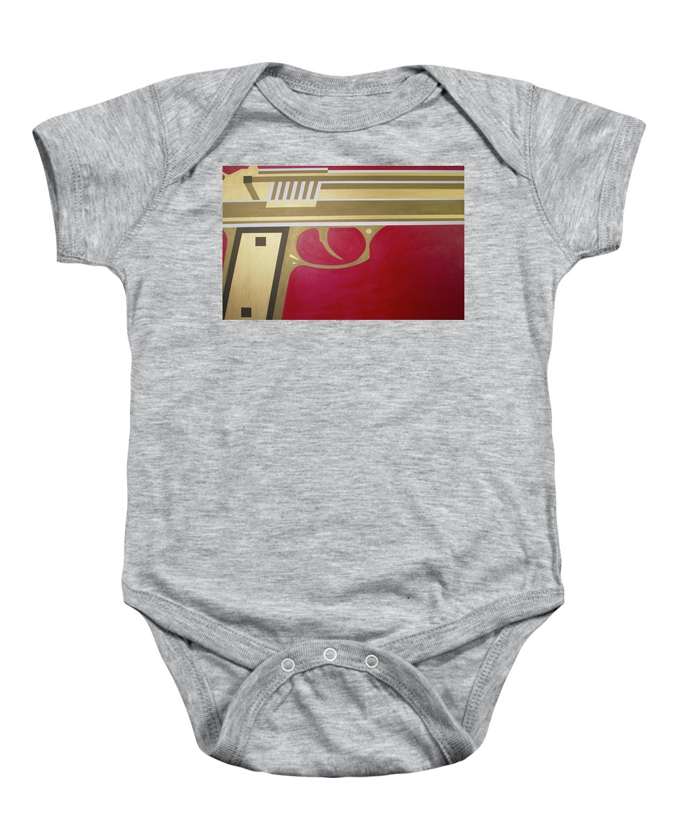 Red Baby Onesie featuring the painting Red And Gold Gun by Jackie Warner