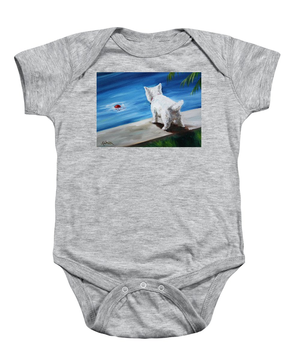 Art Baby Onesie featuring the painting Red Ball by Mary Sparrow