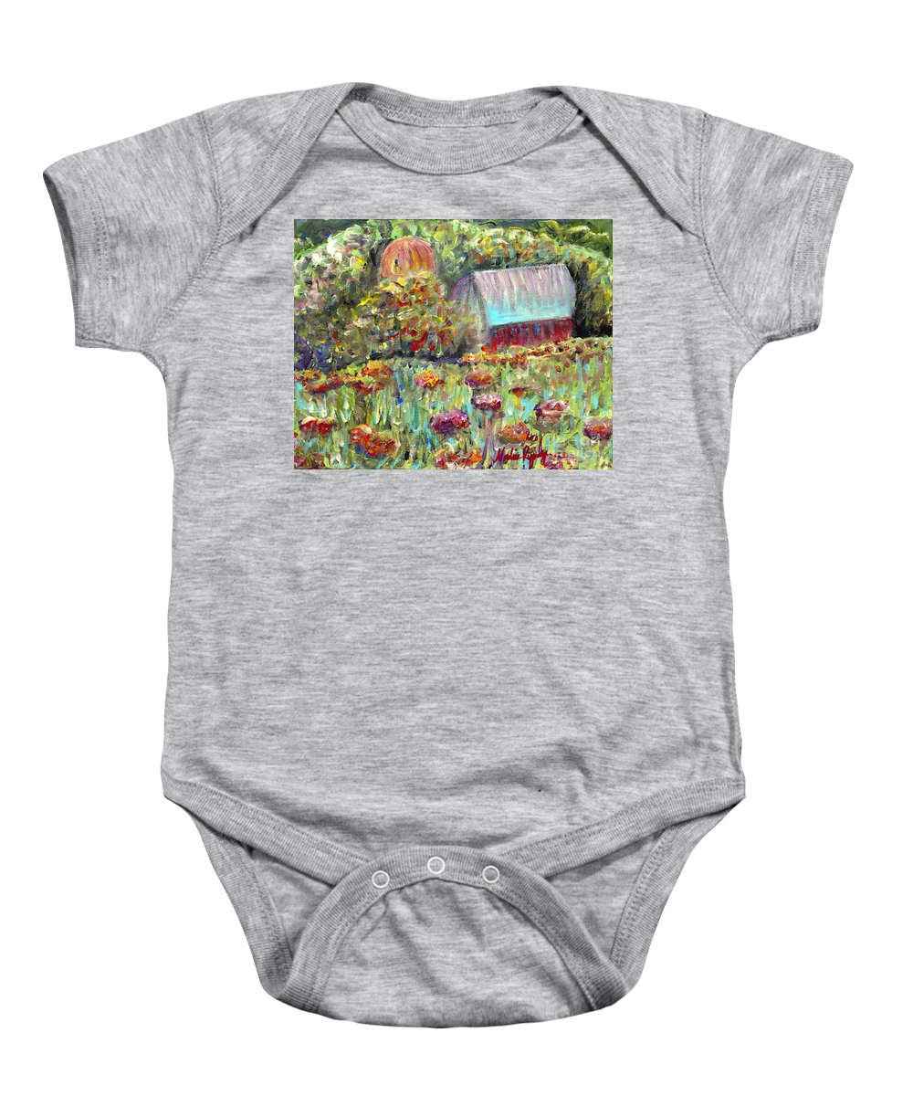 Barn Baby Onesie featuring the painting Red Barn In Summer by Nadine Rippelmeyer
