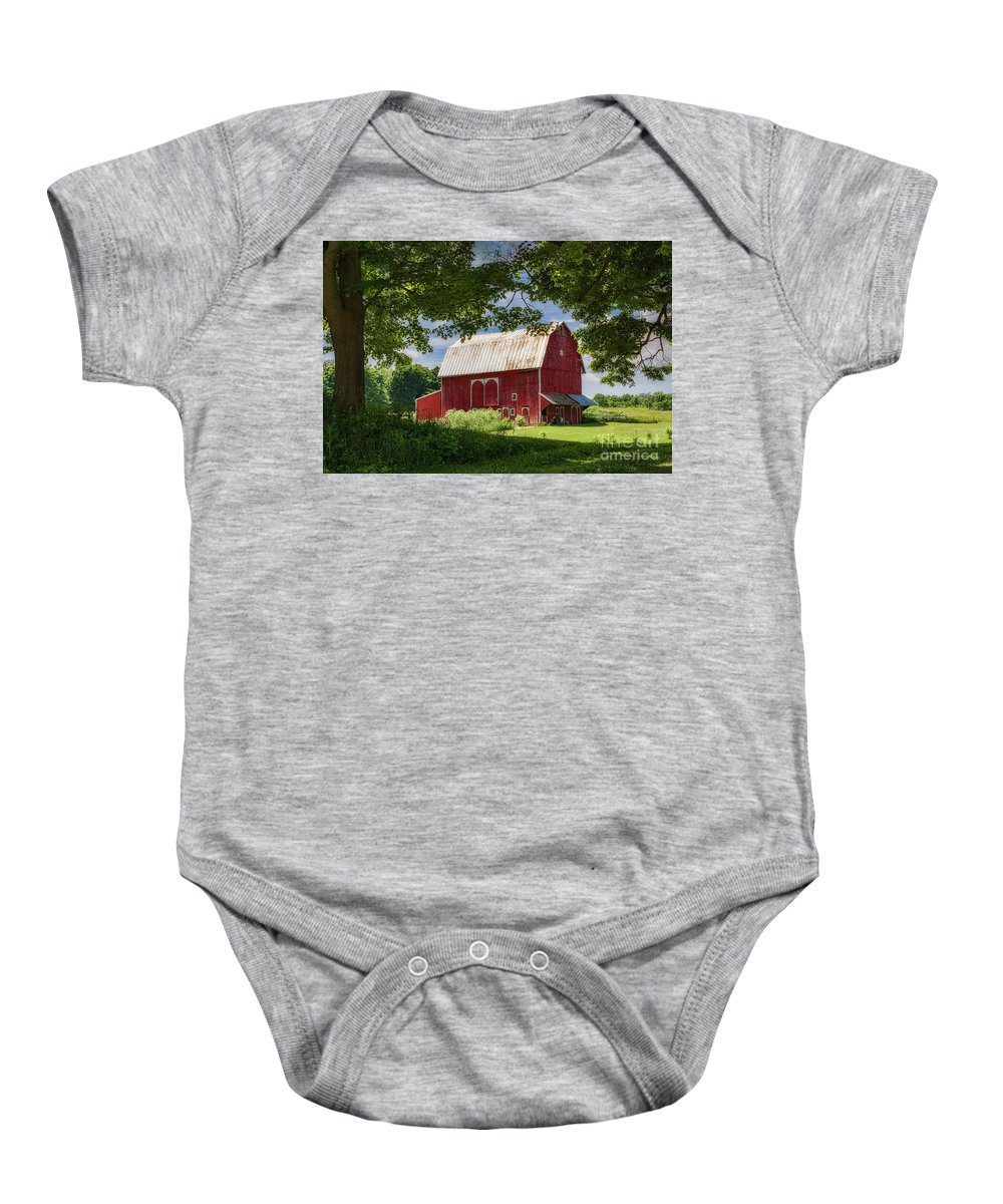 Red Barn With White Arched Door Trim Baby Onesie featuring the photograph Red Barn With White Arched Door Trim by Priscilla Burgers