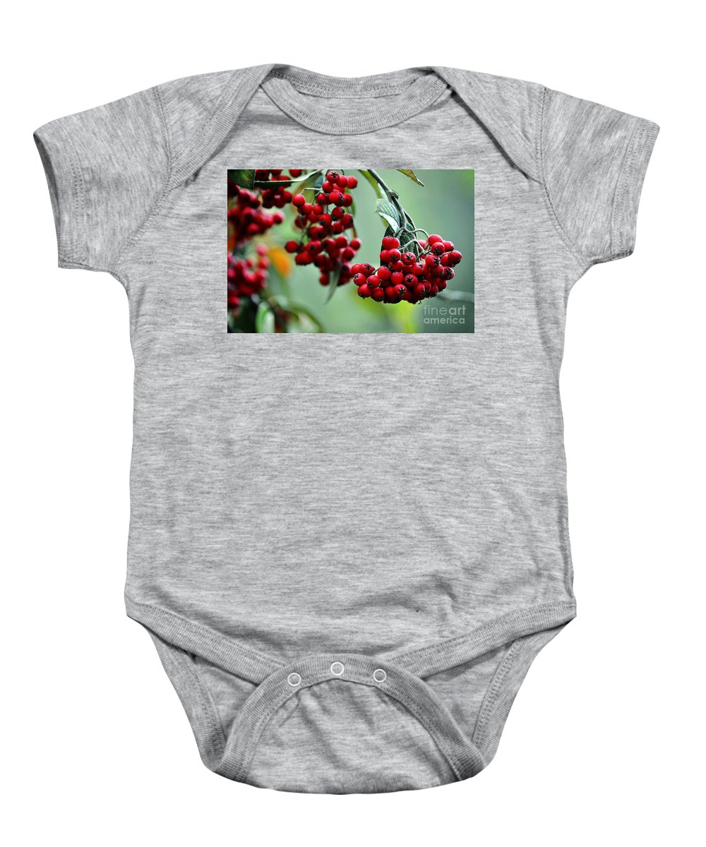 Clay Baby Onesie featuring the photograph Red Berries by Clayton Bruster