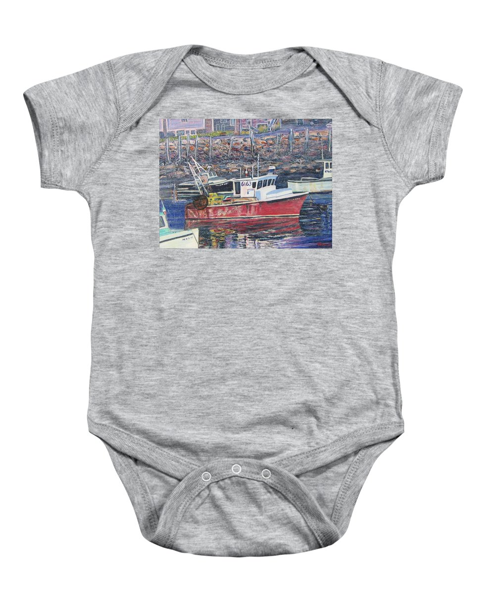 Boat Baby Onesie featuring the painting Red Boat Reflections by Richard Nowak