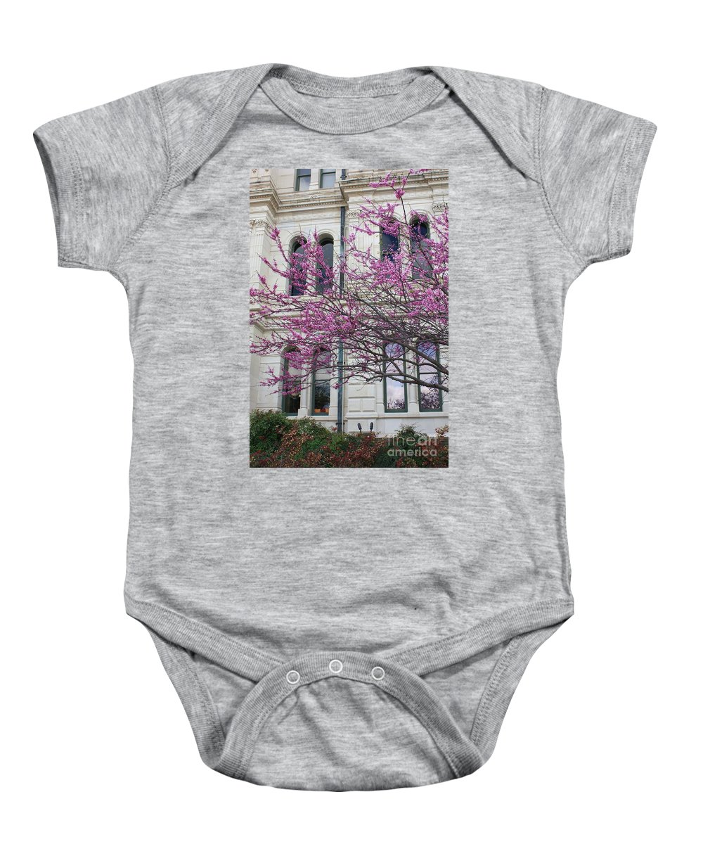 Red Buds Baby Onesie featuring the photograph Red Buds And San Antonio City Hall by Carol Groenen