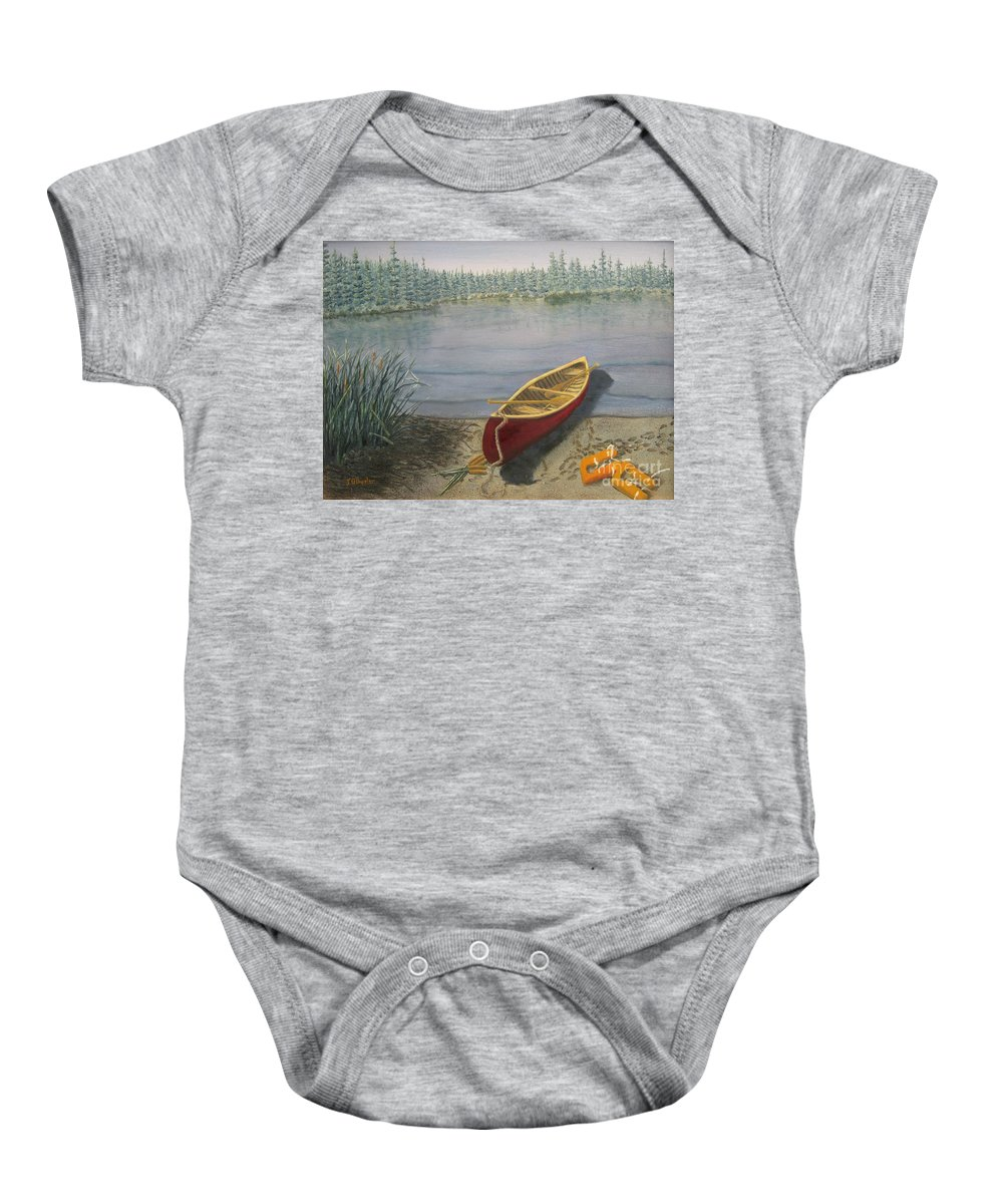 Landscape Baby Onesie featuring the painting Red Canoe 3 by J O Huppler