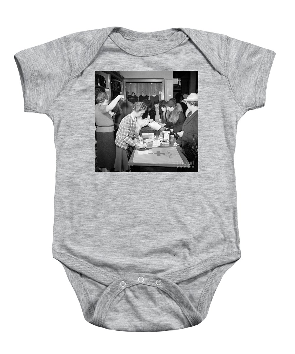 1941 Baby Onesie featuring the photograph Red Cross, 1941 by Granger