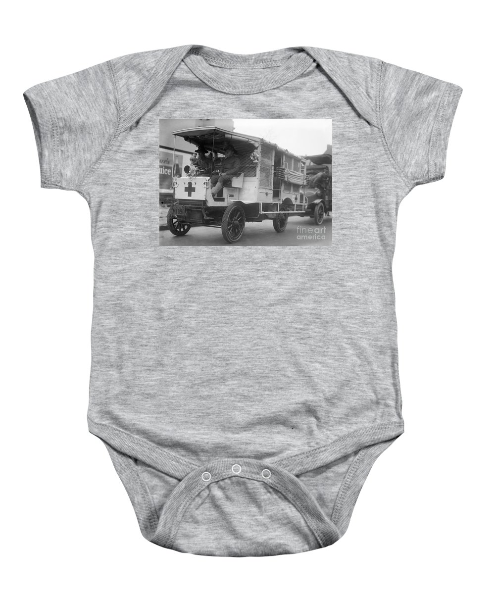 1910s Baby Onesie featuring the photograph Red Cross: Ambulance by Granger