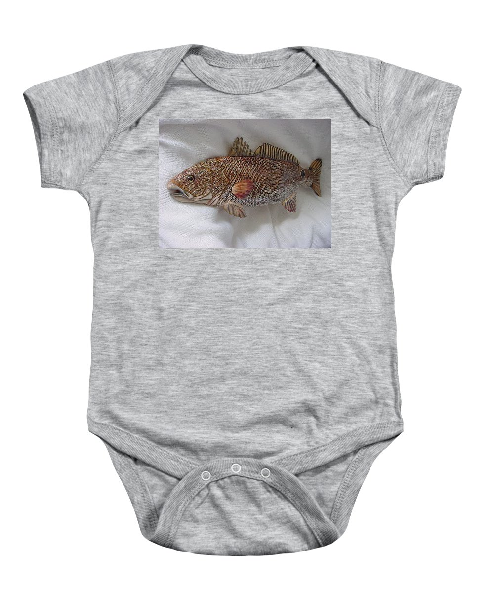 Fish Baby Onesie featuring the relief Red Drum Two-wooden Living Series by Lisa Ruggiero