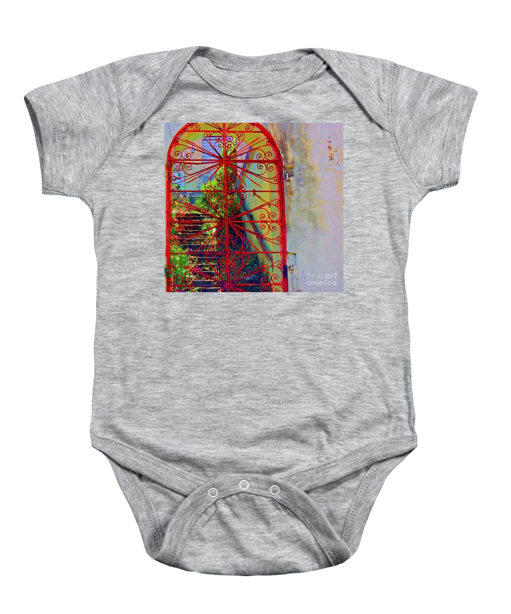 Gate Baby Onesie featuring the photograph Red Gate by Debbi Granruth