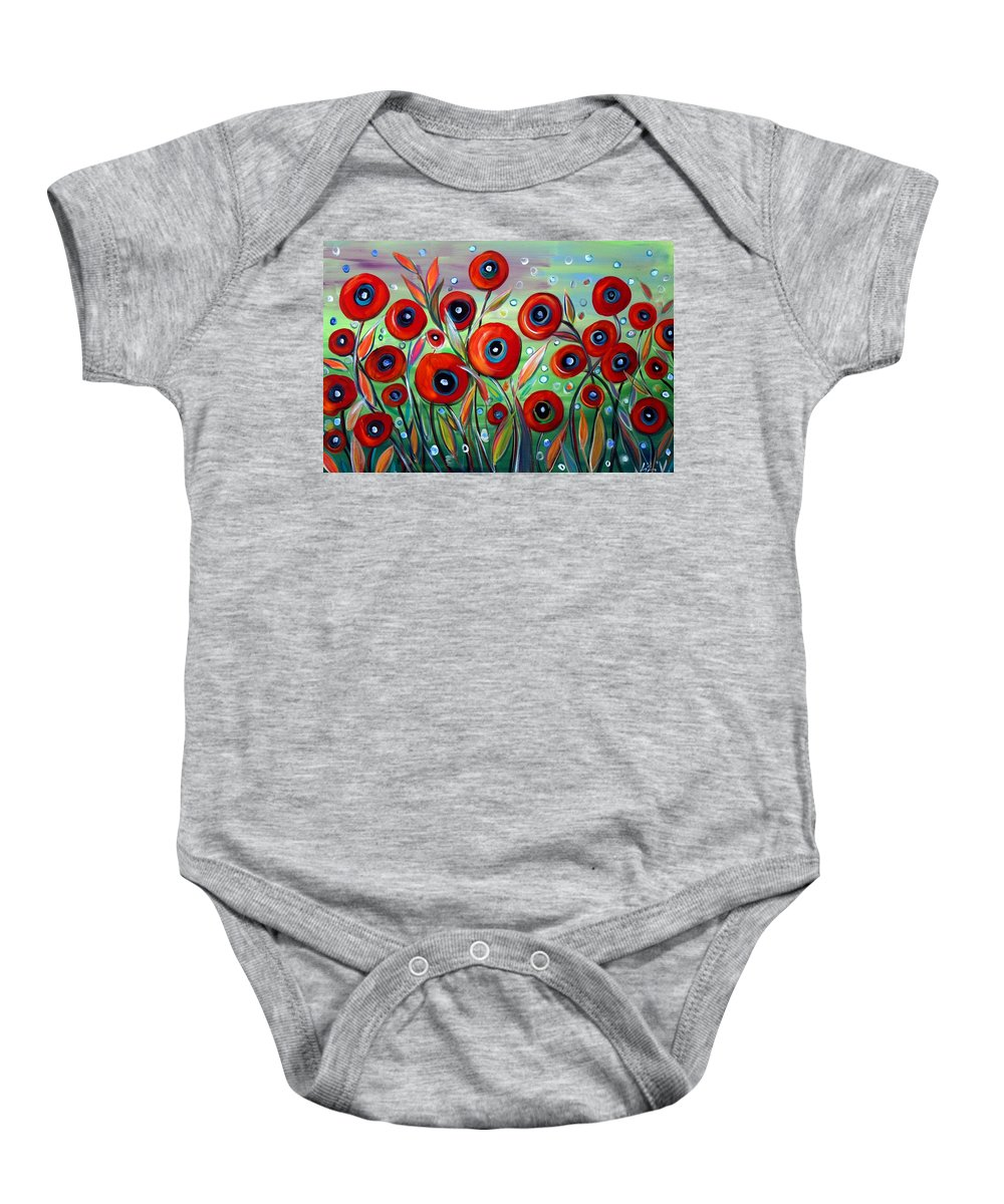 Flowers Baby Onesie featuring the painting Red Poppies In Grass by Luiza Vizoli