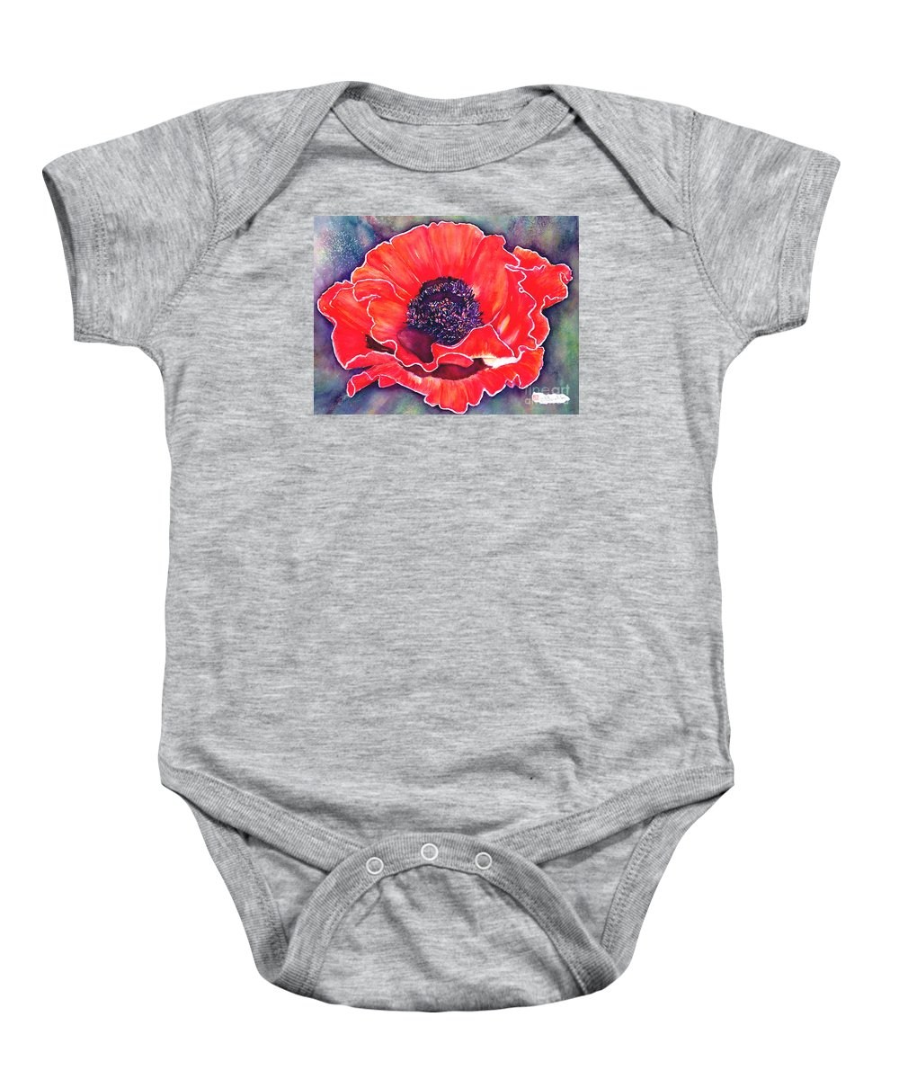 Red Flowers Baby Onesie featuring the painting Red Poppy by Norma Boeckler