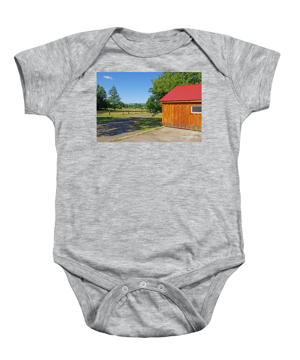 Red Baby Onesie featuring the photograph Red Roof by Zal Latzkovich