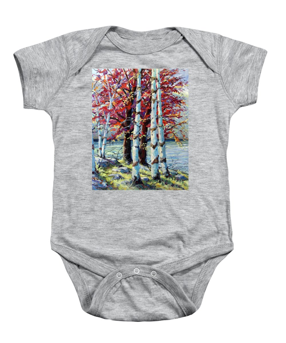 Birches Baby Onesie featuring the painting Red Splash by Richard T Pranke