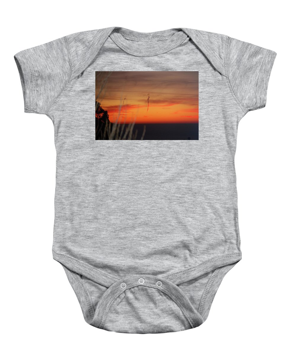Sunset Baby Onesie featuring the photograph Red Sunset Off Pillar Point by Carolyn Donnell