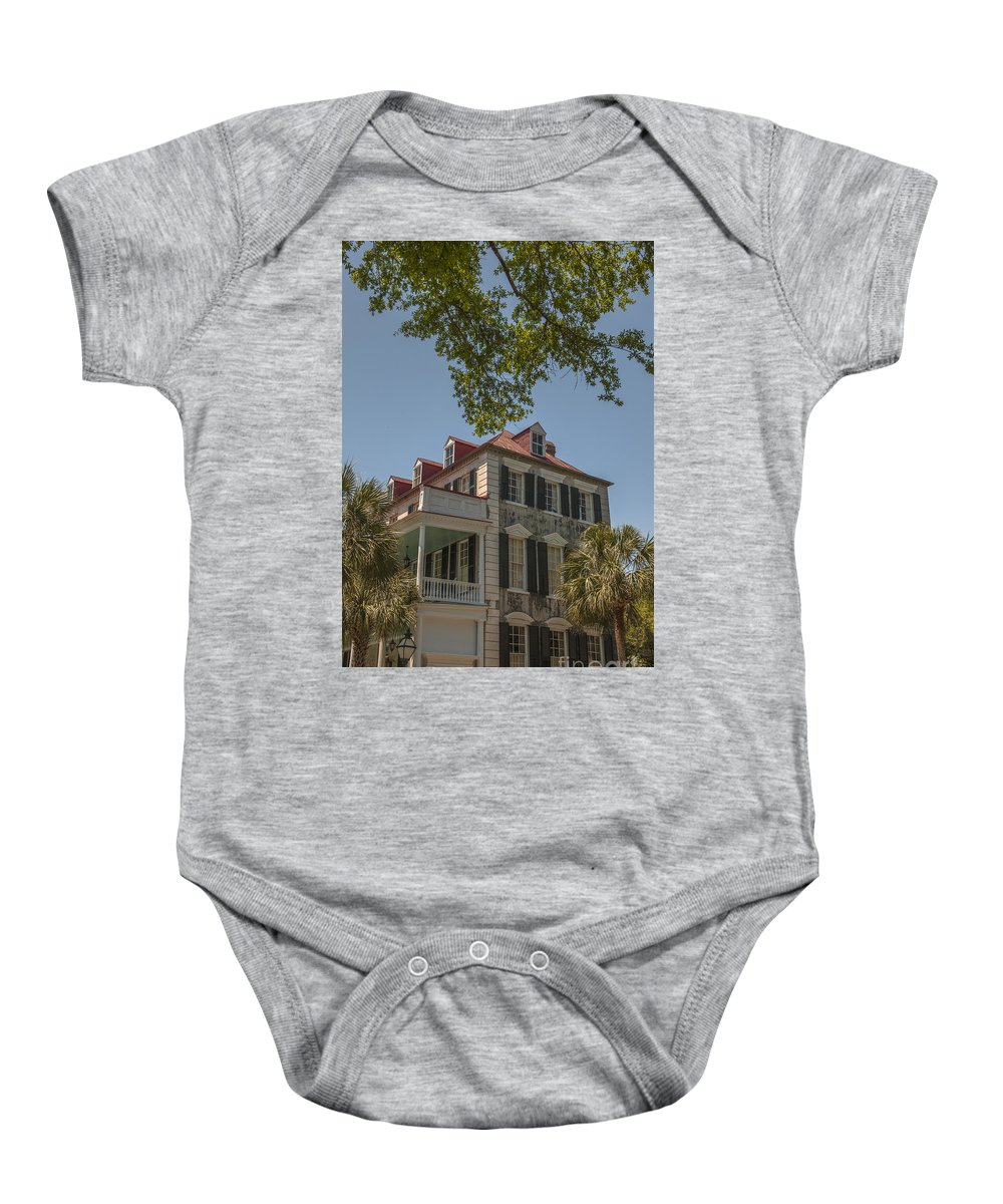 Home Baby Onesie featuring the photograph Red Tin Roof On Meeting Street by Dale Powell