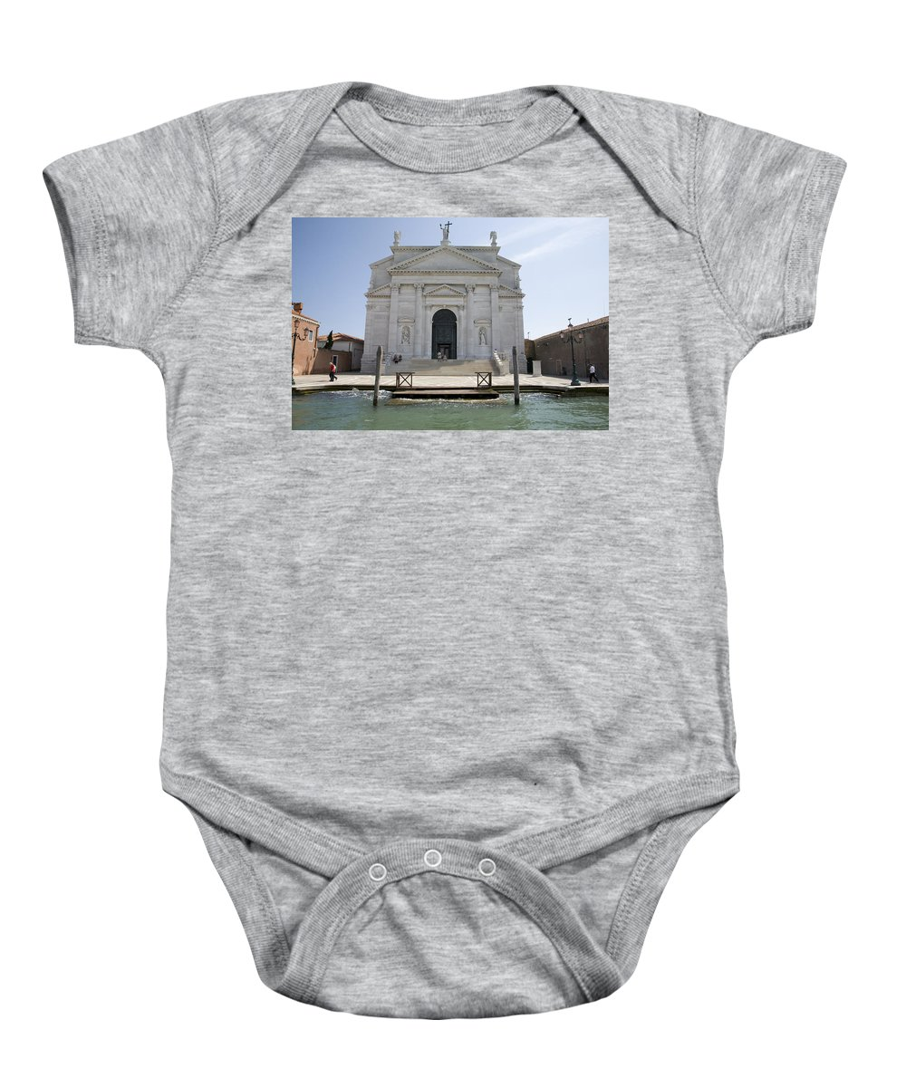 Redentore Baby Onesie featuring the photograph Redentore Church In Venice by Ian Middleton