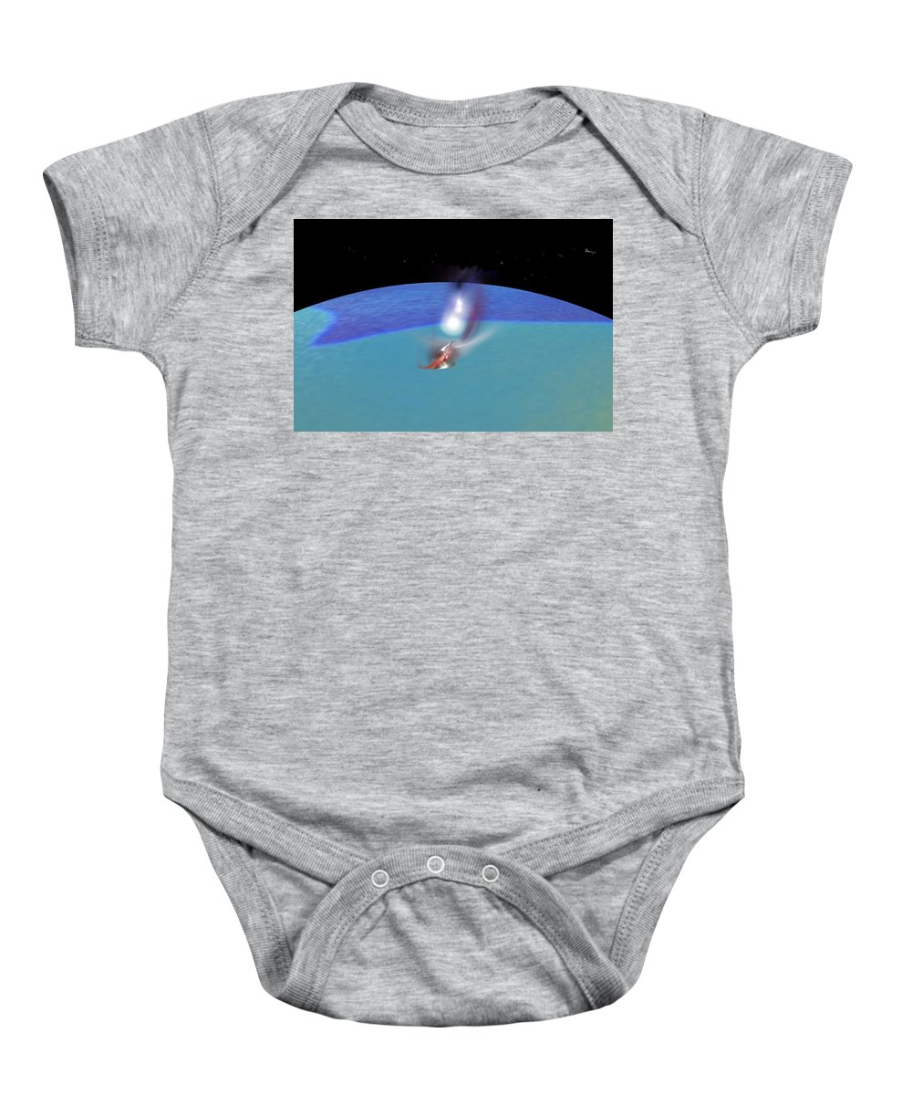Abstract Digital Painting Baby Onesie featuring the digital art Reentry by David Lane