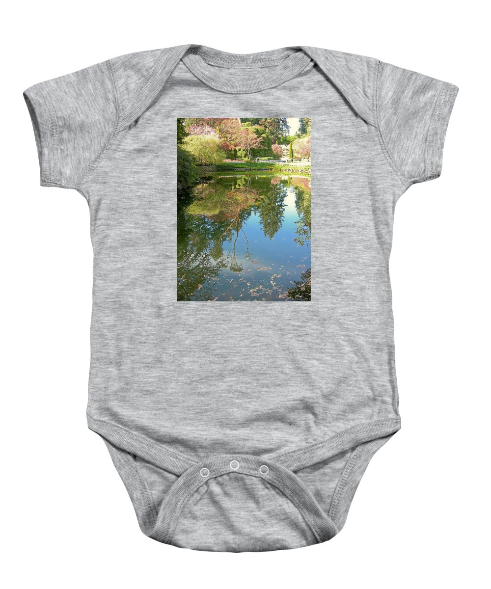 Trees Baby Onesie featuring the photograph Reflection Of Trees by Maro Kentros