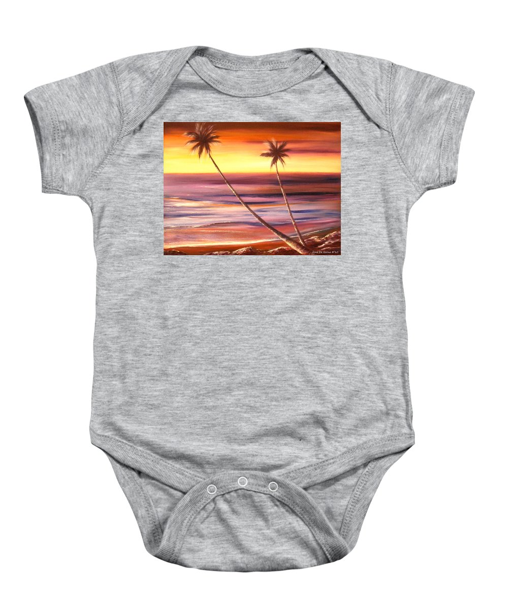 Tropical Baby Onesie featuring the painting Reflections 2 by Gina De Gorna