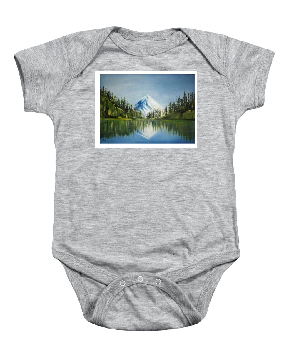Oil Baby Onesie featuring the painting Reflexion 2 by Olaoluwa Smith